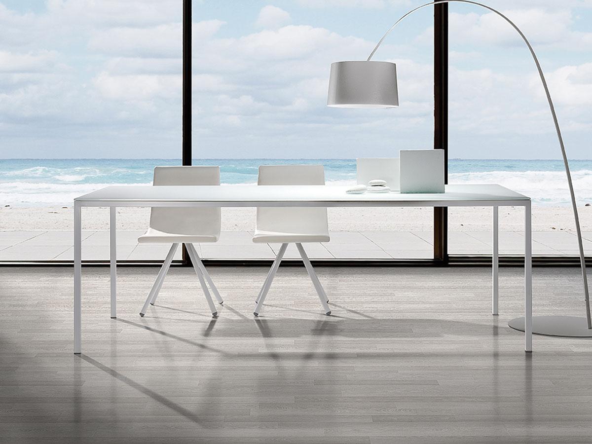 Charmant Table Salle Manger Metal Verre Modèle Line Design Moderne Ramiro Tarazona